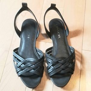 "Coach ""Summers"" black leather flat strappy sandals"